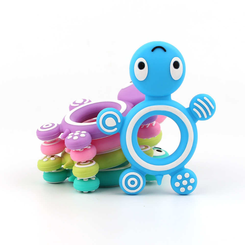 TYRY.HU NEW 1pc Turtle Silicone Teether Necklace Pandent BPA Free Baby Nursing Toy Pacifier Chain Decoration Free shipping