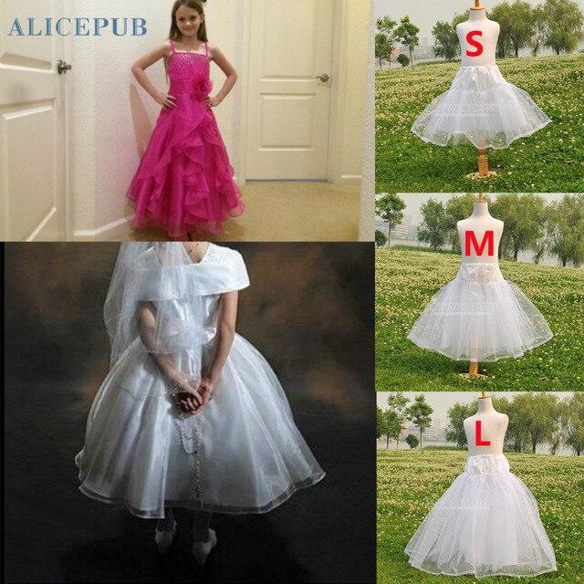 New White Children Petticoats For Formal Flower Girl Dress Short Tutu Fluffy Crinoline Little Kids