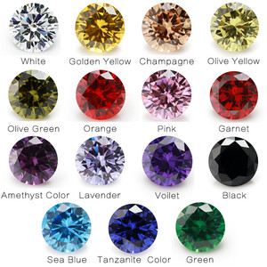 1PCS Per Colors Total 15pcs Size 4mm ~ 10mm Round Shape Loose Cubic Zirconia Stone CZ(China)