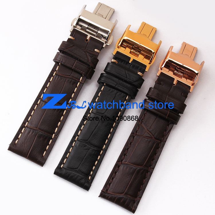 где купить Genuine leather watch strap 18mm 19mm 20mm 21mm  watchband  for wrist watches Black Soft and comfortable butterfly clasp по лучшей цене