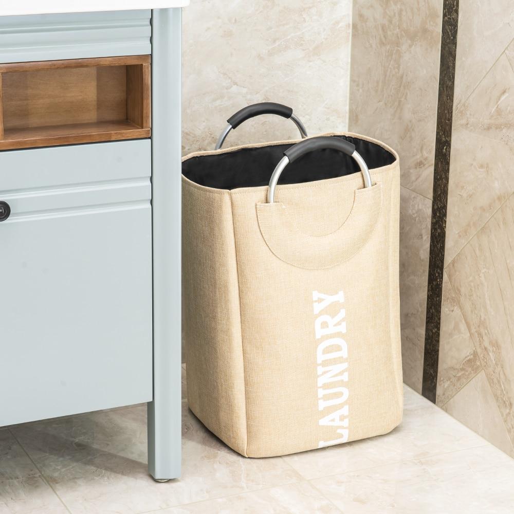 Image 5 - SHUSHI Foldable linen laundry hamper on aluminum handle home large toys sundries Storage basket hotsell Folding laundry handbag-in Storage Baskets from Home & Garden
