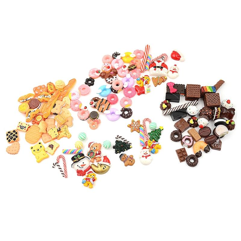 30 pcs/lot Mini jouer nourriture gâteau Biscuit beignets poupées pour poupées accessoires en gros Miniature semblant jouet