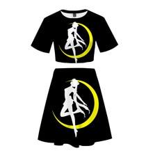 Sailor Moon Women Outfits 2 Piece Set Women Outfit 3D Print T-Shirt Women's Suit Mini Skirt Summer Top Ensemble Femme t 3d mini