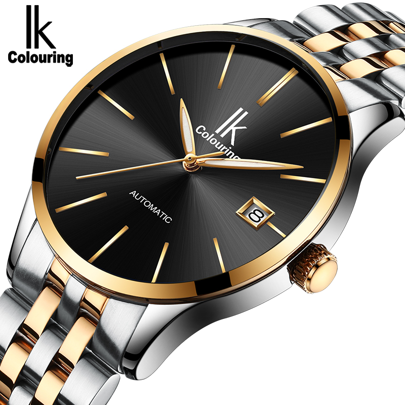 IK Mens Watch Mechanical Watches Top Brand Luxury Fashion Casual Mechanical Clock Simple Gold Leather Large Dial Wristwatch forsining brand fashion casual mens watches luxury rose gold black dial leather belt mechanical quartz wristwatches clock men