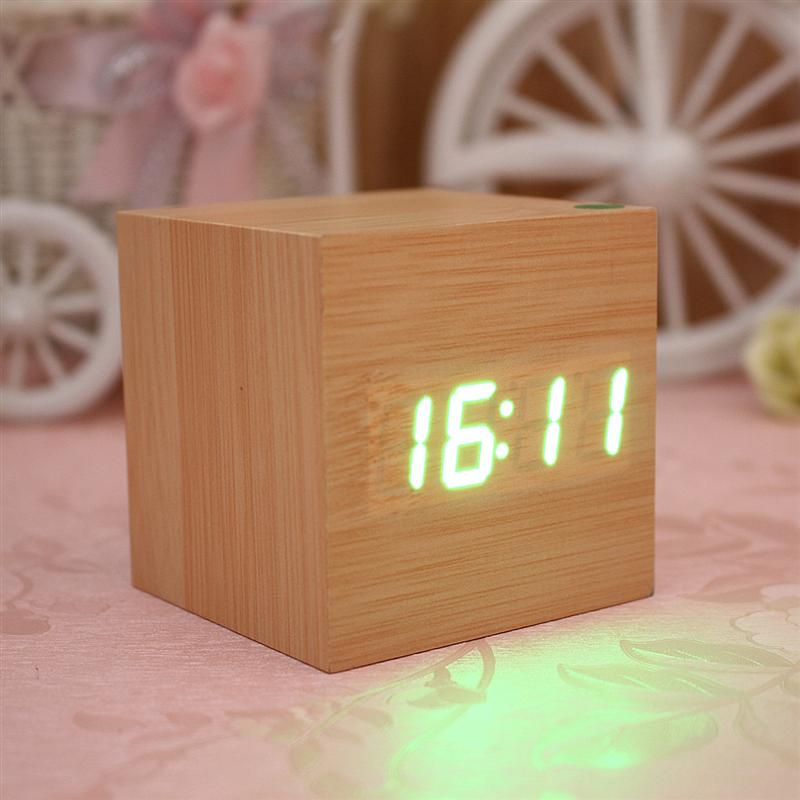 Mini Cube Shaped Home Office Desk Wooden Digital Alarm Clock Sound-Sensitive Clocks and Temperature Display White Wood White LED