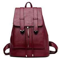 Мода 2017 г. натуральная кожа женщины рюкзак drawstring школьные сумки для девочек-подростков Anti-Theft женский рюкзак мешок DOS Femme