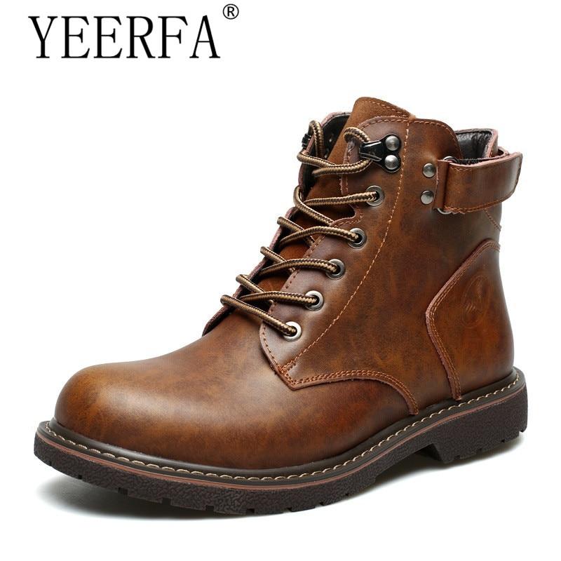 Autumn winter Full grain leather men boots Handmade warm fur winter shoes men Plus size fashion men snow boots big size 38-44