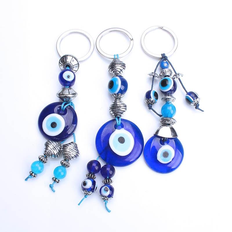 Jewelry Sets & More Adroit Lucky Eye Glass Evil Eye Keychain Turkey Blue Key Ring Car Keychain For Women Men Handmade Jewelry Ey1073