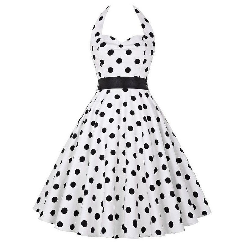 Sexy Halter Party Dress Retro Polka Dot Hepburn Vintage 50s 60s Pin Up Rockabilly Dresses Robe Plus Size Elegant Midi Dress 19