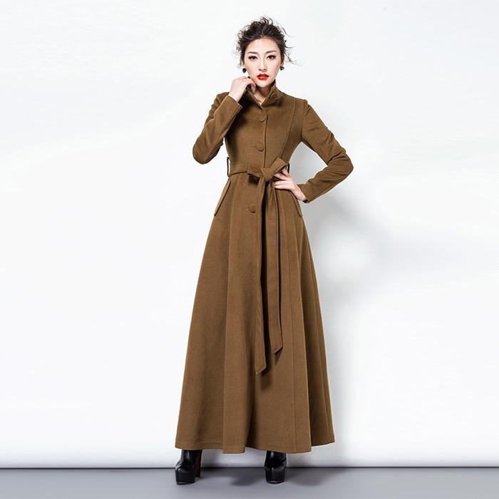 2019 Moda Qatı Rəngli Yun Palto Uzun yun Pencək Qadın Vintage - Qadın geyimi - Fotoqrafiya 2