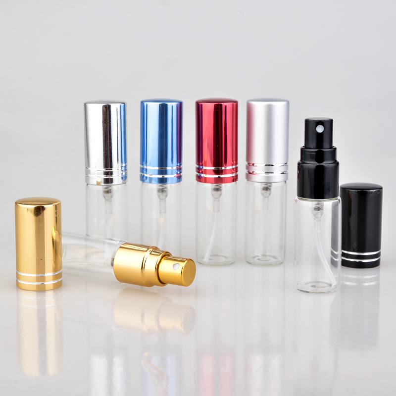 100 Pieces/Lot 5ML Mini Portable Colorful Glass Perfume Bottle With Aluminum Atomizer Empty Cosmetic Containers For Travel