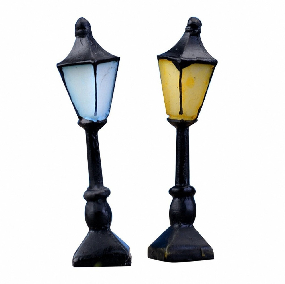 Mini light sets for crafts - 2 Pcs Set Retro Street Lamp Streetlight Miniature Garden Ornament Fairy Garden Resin Craft Decor
