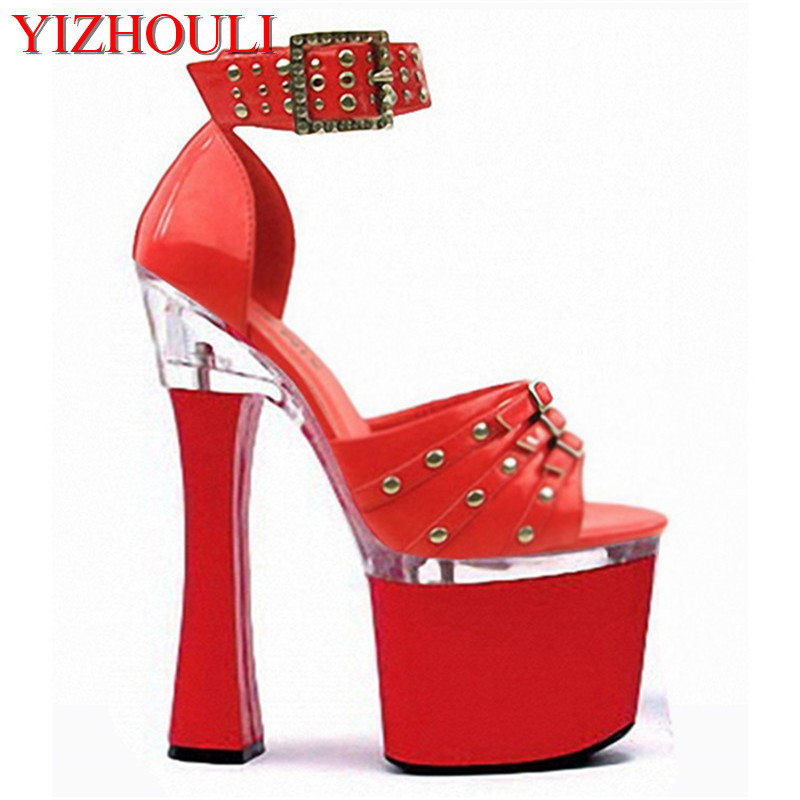 18cm Women Sandals New arrived Thick High Heel Shoes Bottom Pumps Sandals With Rivets Buckle Party Wedding Shoes trendy women s sandals with rivets and velcro design