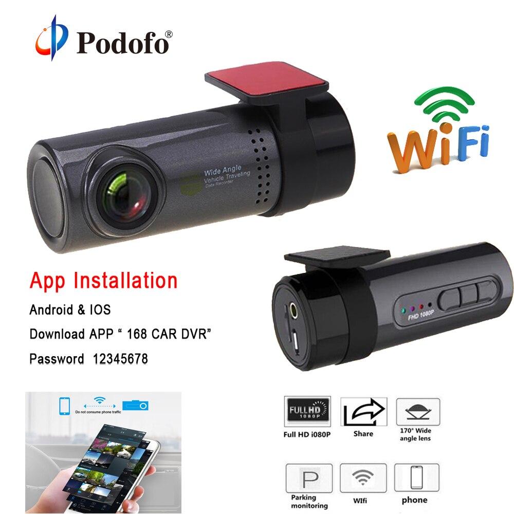 Podofo Mini WIFI Car DVR Camera Hidden HD 720P Video Recorder Auto Front Dash Cam Digital Registrar Camcorder Wireless Dashcam