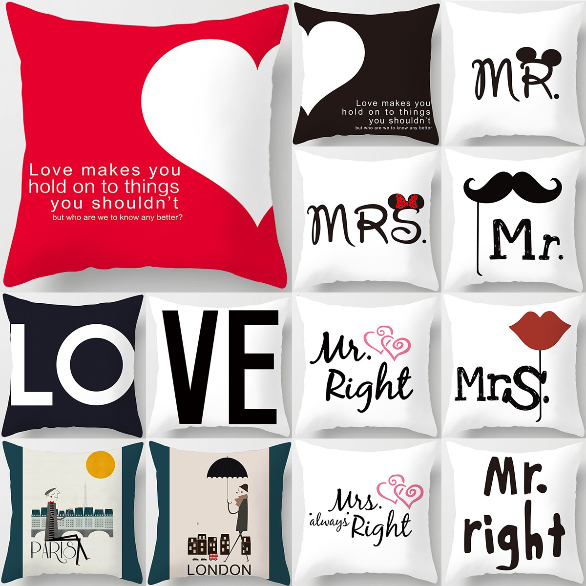 45*45cm New Square Decorative Throw Lovers Couple Pillow Case Cartoon Pattern sweetheart Pillowcase For Home Pillow Cover
