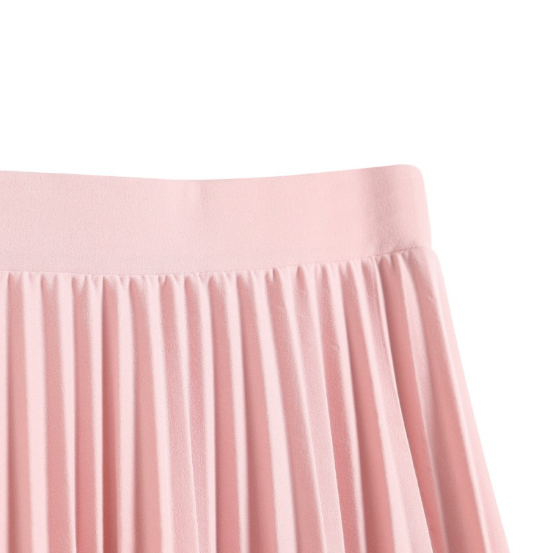 Fashion Skirt Waist Pleated Cute Mid-Calf Summer Spring Lady Casual Empire Skirts Solid Color