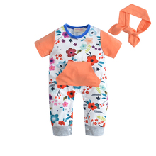 2019 fashion infant cloting Baby Girl Romper Short sleeves Cute flower jumpsuit+Headband 2 pcs newborn toddler baby clothes