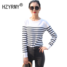 HZYRMY 2018 Spring and Autumn New Women Cashmere Sweater Fashion Stripe Round Neck Short Shirt Wool Loose Knit Pullover