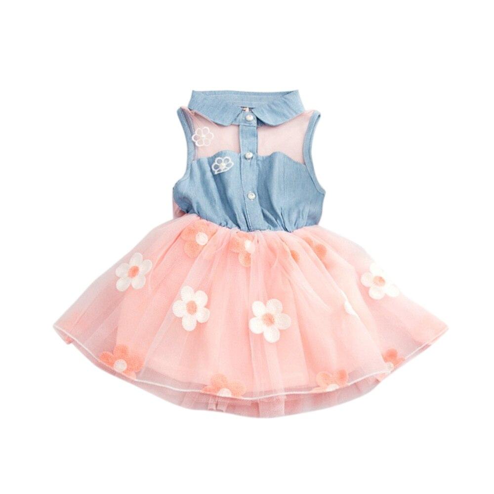 Кружевная джинсовая рубашка одежда для маленьких детей платье-пачка принцессы джинсовая футболка Тюль с цветочным рисунком летняя мягкая пачка принцессы для девочек на день рождения - Цвет: pink