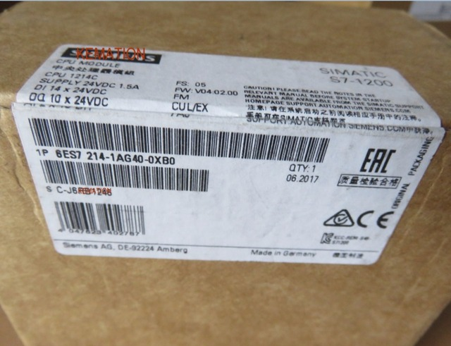 Simatic 6ES7214 1AG40 0XB0  S7 1200 1214C CPU Module 6ES7 214 1AG40 0XB0 6ES72141AG400XB0 Original New 14 DI 24V DC