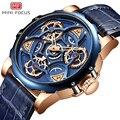 Мини фокус для мужчин s часы лучший бренд класса люкс спортивный стиль Дизайн Кварцевые часы для мужчин синий кожаный ремешок 30 м водонепрон...