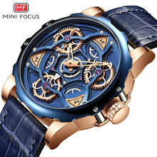 Mini Fokus Mens Watches Top Brand Mewah Olahraga Desain QUARTZ Watch Pria Biru Leather Strap 30M Tahan Air Relogio masculino(China)