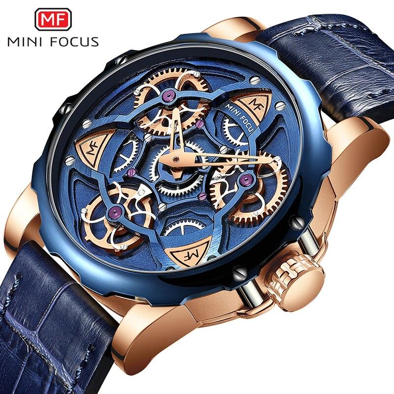 MINI FOCUS hommes montres haut de gamme marque de luxe Sport style conception montre à Quartz hommes bleu bracelet en cuir 30M étanche Relogio Masculino