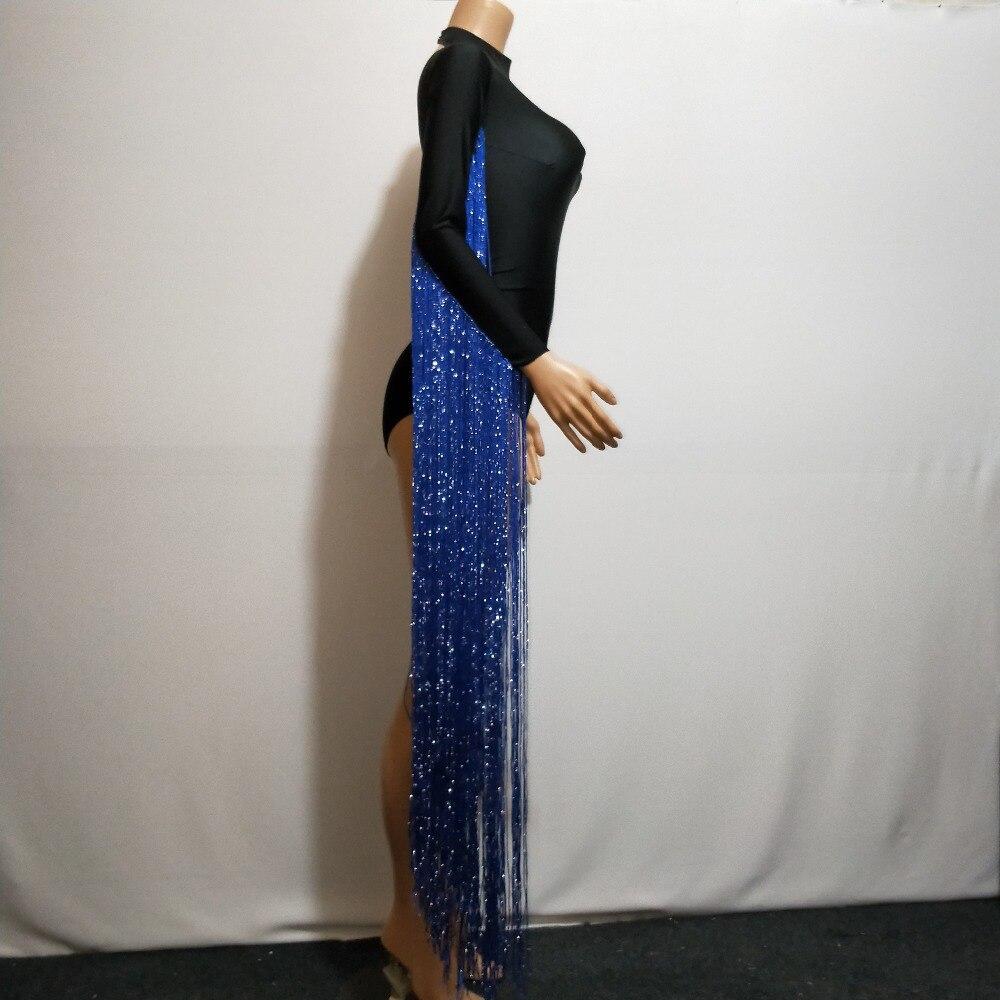 Nightclub Della Tuta Di Sola Delle Nero Donne Gamba Black Nappa Sexy Cantante Stage Maniche Costume Outfit Frange Ballo Ballerino Usura xYa4Ff