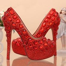 Abend Party Prom Stöckelschuhe 5 Zoll High Heel Strass Frauen Schuhe Rot Brautschuhe Hochzeit Schuhe Brautjungfer Schuhe