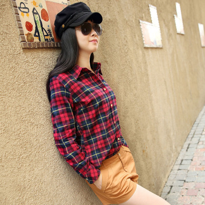 2016 Hot Sale Women Shirts tops new 100% Cotton Flannel Plaid Shirt Female Student Women's Long-sleeve Plus Size Basic Blouses 1