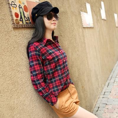 2016 Hot Sale Women Shirts tops new 100% Cotton Flannel Plaid Shirt Female Student Women's Long-sleeve Plus Size Basic Blouses 1