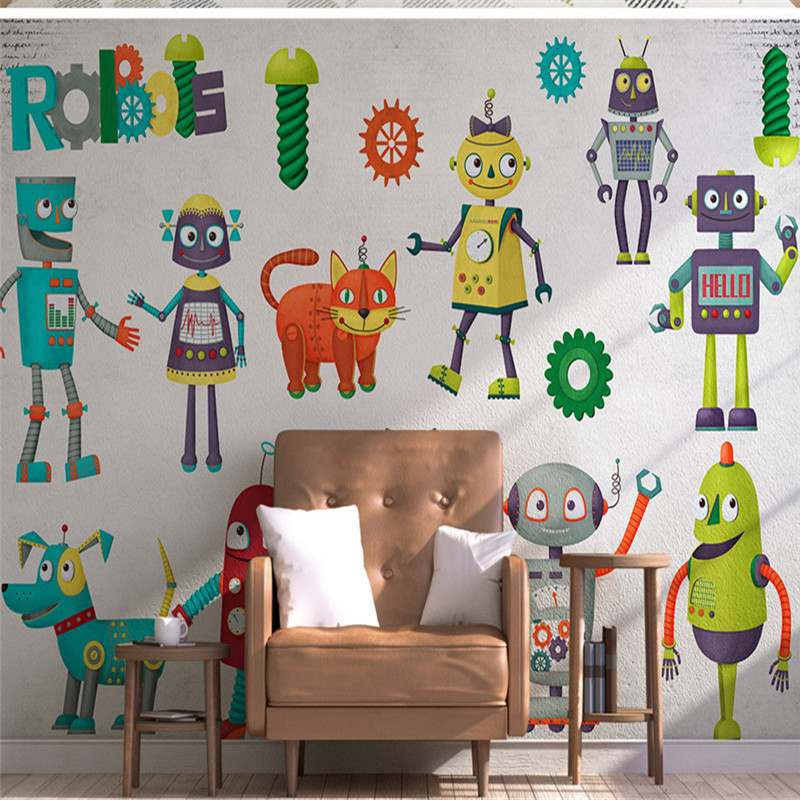 3D Custom Wallpapers Cartoon Pattern Murals for Kids Robot Photo Wall Paper for Living Room Children Room Background Home Decor custom large 3d wallpapers cartoon dog cat animals murals kids walls papers for children room living room home decor painting