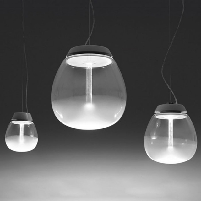 Creative transparent glass design LED single head pendant lamp Nordic simple ball polished hardware home bar decoration lightingCreative transparent glass design LED single head pendant lamp Nordic simple ball polished hardware home bar decoration lighting