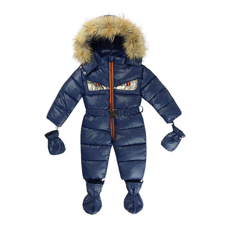 Baby Footies Fur Gloves Ski Suit Newborn 3-12m Infant Outwear Warm Clothes -10 to -30 Degree Suit for Russia Winter Girls Boys new winter baby hat real fur pom pom knitted toddler kid thick warm double raccoon fur balls beanies boys girls bonnet gorros f3
