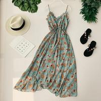 Korean V collar Sleeveless Casual Dresses Women Sexy Print Vestidos De Fiesta F224