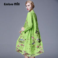 Chinese Style V Neck Royal Embroidery Trech Coat Women Autumn Vintage Elegant Loose Lady Linen Cotton