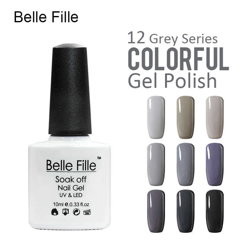 Belle Fille Esmalte en gel para uñas UV Nice Grey Series Esmalte en gel Color gris claro Base superior Capa LED UV Gel Abrigo en gris oscuro Gel de uñas