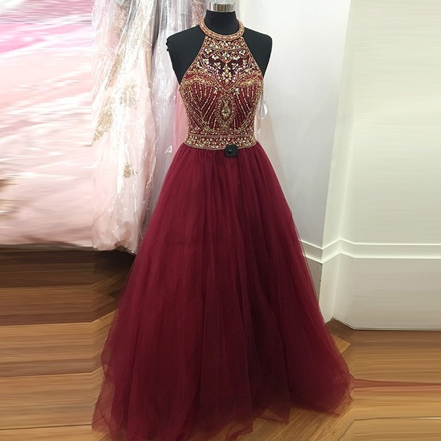 6691b02ce3f7 Luxury Dark Red With Gold Sequin Crystal Prom Dresses 2017 Halter A line  Cheap Backless Princess Evening Long Party Dress Gown