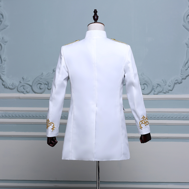 PYJTRL Men Double-breasted England Style Long Slim Fit Blazer Design Wedding Groom Suit Jacket Mens Stage Wear Singer Costume