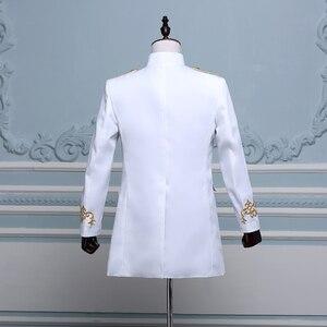 Image 2 - PYJTRL Men Double breasted England Style Long Slim Fit Blazer Design Wedding Groom Suit Jacket Mens Stage Wear Singer Costume