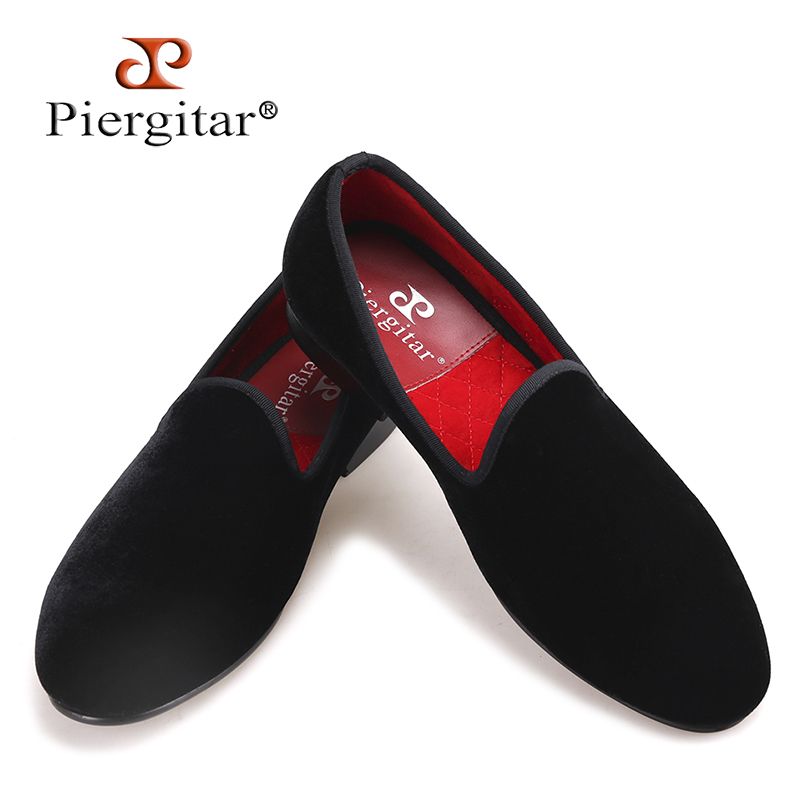 Piergitar New Handmade Men Velvet Shoes With Round Tongue Fashion Show Party And Wedding Men Dress Shoes Big Size Male Loafers