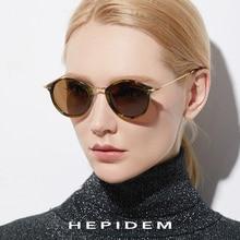 HEPIDEM Elastic B Titanium Polarized Sunglasses Women Brand Designer Vintage Round Sun Glasses for Men Retro Acetate Sunglass