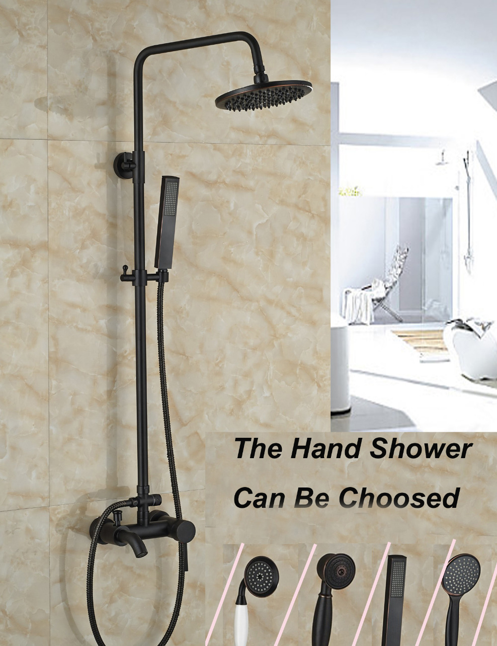Wholesale And Retail Wall Mounted 8 Round Rain Shower Head Faucet Valve Mixer Tap W/ Hand Shower Tub Spout Mixer Tap