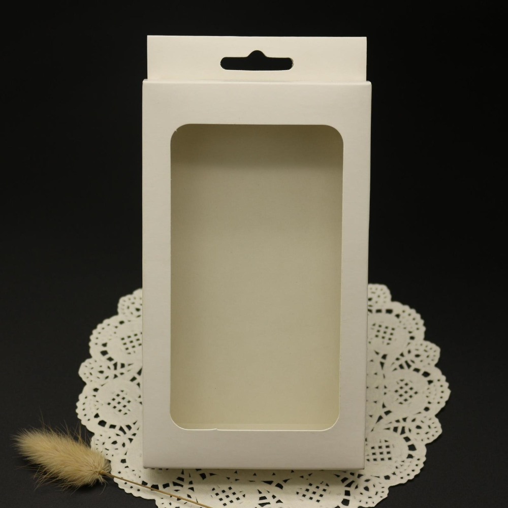30Pcs/Lot 3x10x12cm White Electronic Product Kraft Paper Packaging Hang Hole Box Gift Earphone Cardboard Package Window Box
