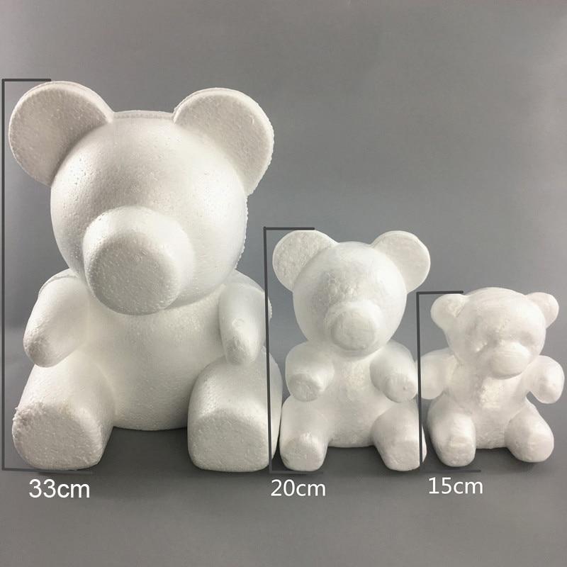 1PC 15cm/20cm/35cm Foam Rose Bear Mold DIY TOY Artificial Rose Flower Bear Plastic Bear Roses Luck Dog Mold Model