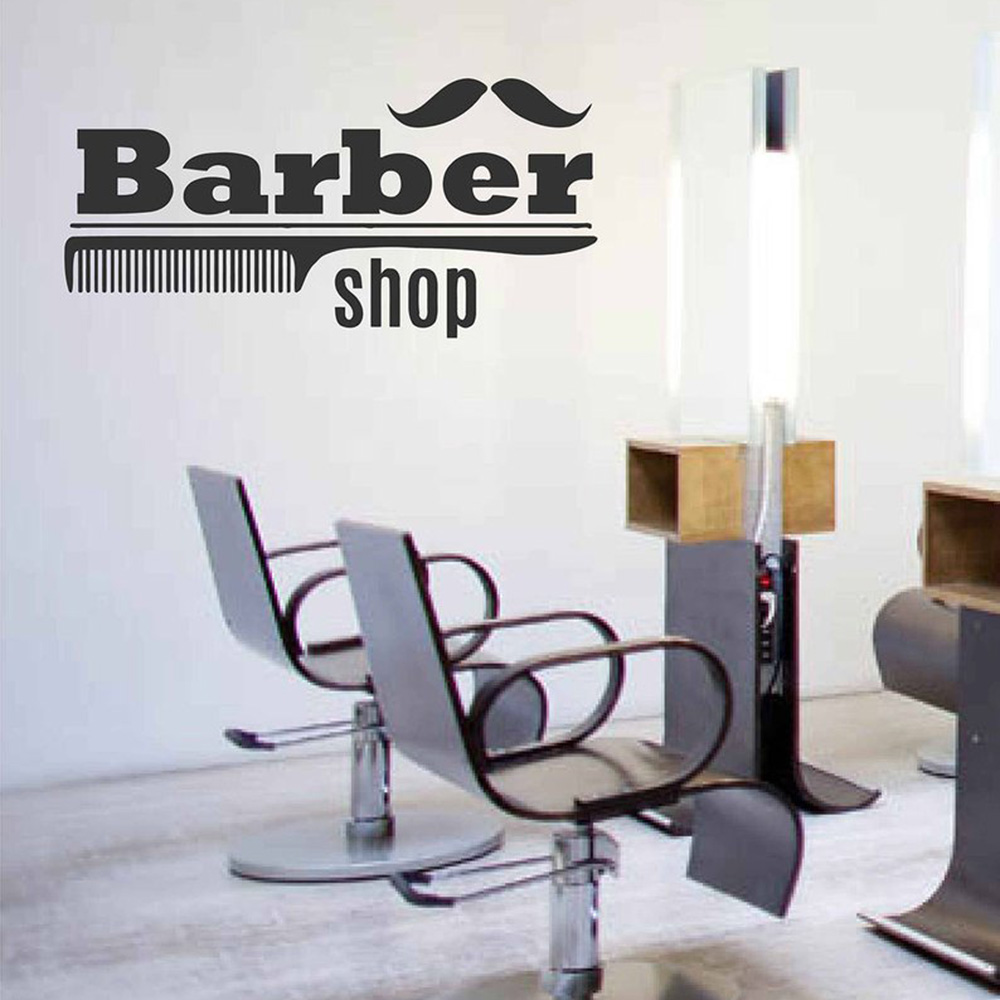 Barbershop comb Characters wall stickers Detachable vinyl decal room Windows Decor Barbers Logo Hair Salon PVC Wall Decals G170