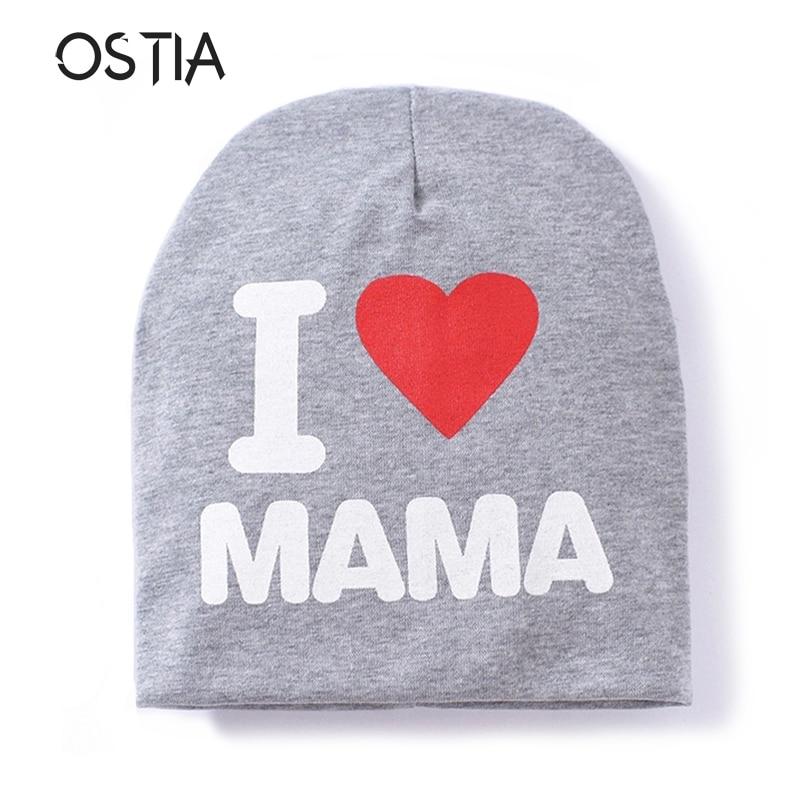 Baby Hat Knit Cotton Cartoon Papa Mama Print Baby Caps For Boys Girls Spring Autumn Winter Childrens Hats Child Beanie B18
