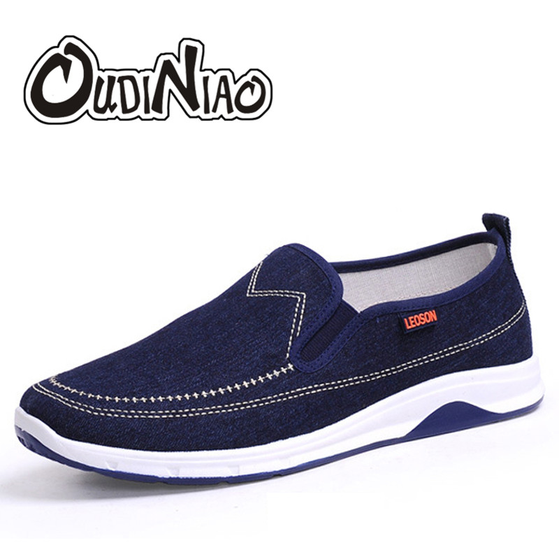 OUDINIAO Men Shoes Canvas Denim Slip On Men Casual Shoes New 2018 Plimsolls Breathable Male Footwear Spring Sneakers Dark Blue foot sequins slip on plimsolls