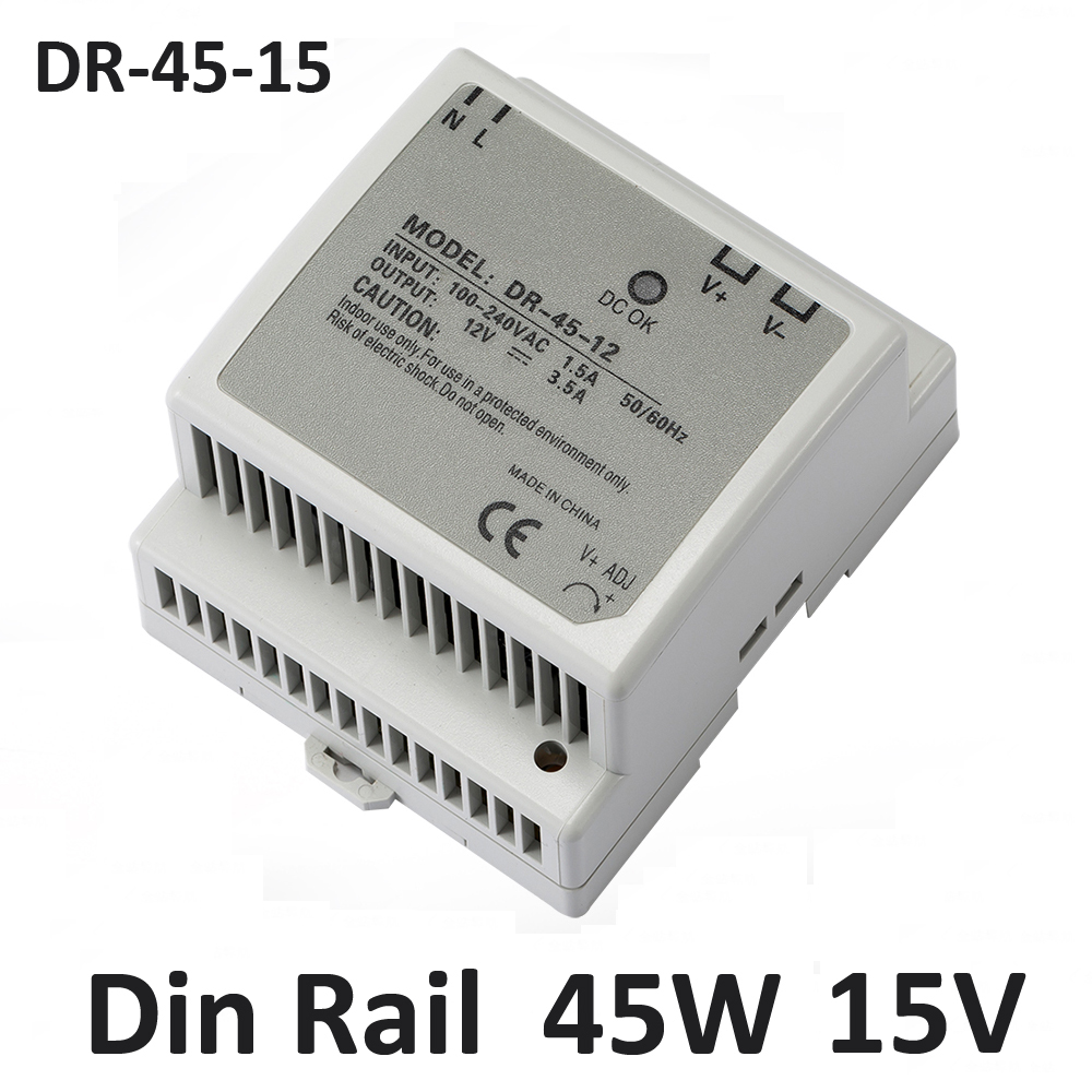 45W 15V Din rail type Switching Power Supply adapter Driver for CCTV camera LED Strip AC 100-240V Input to DC 15V free shipping