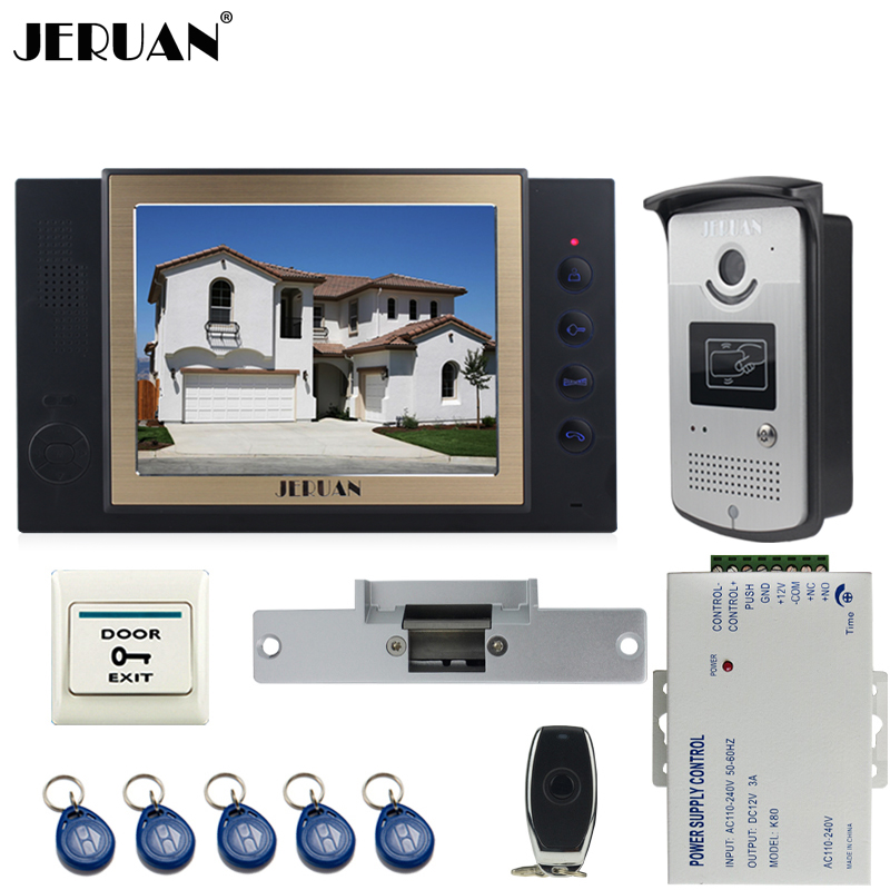 JERUAN black 8`` LCD Video Door Phone System 700TVT Camera access Control System+Cathode lock+Remote control+8GB card jeruan black 8 lcd video door phone system 700tvt camera access control system cathode lock remote control 8gb card